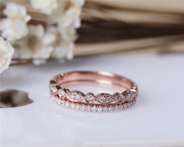 Diamond Band Set Wedding Ring Set Solid 14K Rose Gold Diamond Engagement Ring Set Half Eternity Stackable Matching Band