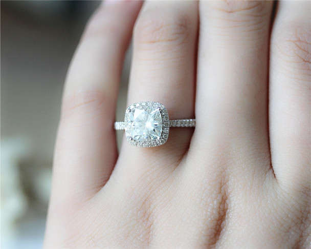 Real Diamond Halo 2ctw Charles & Colvard Cushion Moissanite Engagement Ring Solid 14K White Gold Ring Moissanite Ring