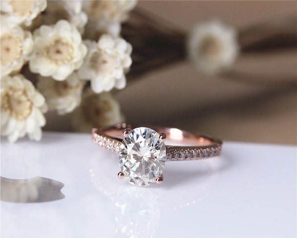 2.1ct  Charles & Colvard Forever Brilliant Moissanite Engagement Ring Solid 14K Rose Gold Moissanite Ring