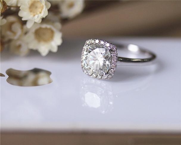 1.6ct Cushion Brilliant Moissanite Engagement Ring Solid 14K White Gold Pave Diamonds Moissanite Ring
