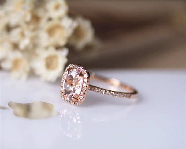 6x8mm Oval Morganite Ring Solid 14K Rose Gold Morganite Ring Stackable Wedding Ring