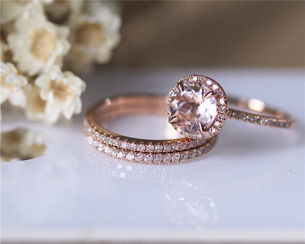 3PCS Pink Morgannite Ring Set VS Morganite Ring Diamond Ring Wedding Ring Solid 14K Rose Gold