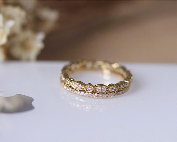 Diamond Band Set Wedding Ring Set Solid 14K Yellow Gold Diamond Engagement Set Half/Full Eternity