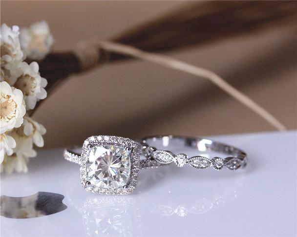 Charles & Colvard 2ct 7.5mm Cushion Moissanite Engagement Ring Set Solid 14K White Gold Ring Set