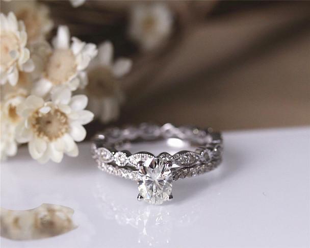 Engagement Ring Set Charles&Colvard 1ct 5x7mm Oval Moissanite Ring Set Solid 14K White Gold
