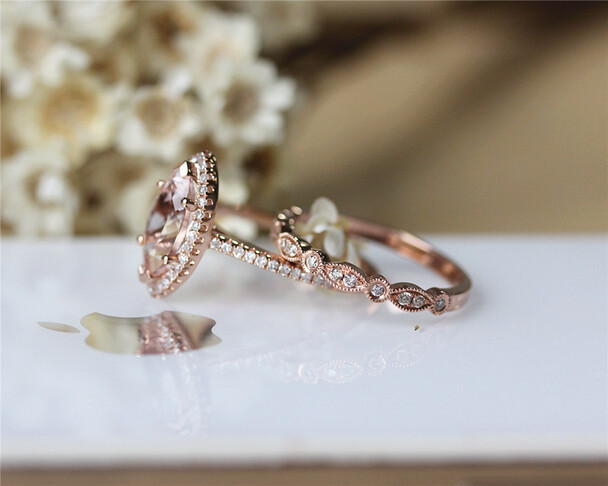 Unique Marquise Morganite Solid 14K Rose Gold  Morganite Engagement Ring Set