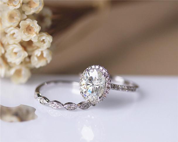 2.1ct Charles & Colvard 7x9mm Oval Moissanite Ring Set Wedding Ring Set Solid 14K White Gold Ring Set