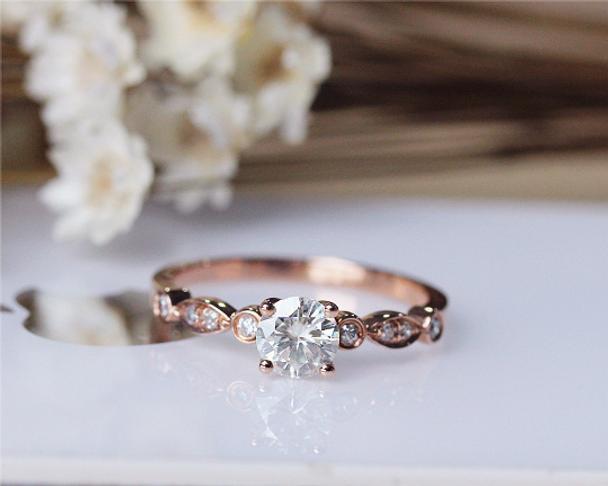 5mm Moissanite Engagement Ring Solid 14K Rose Gold Wedding Moissanite Ring Anniversary Ring Bridal Ring