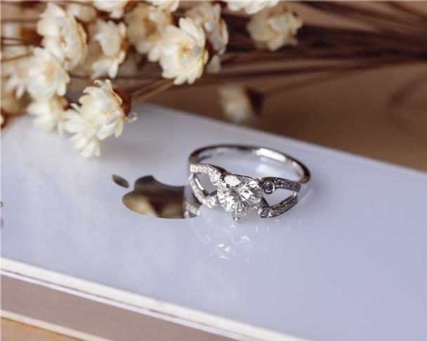 Charles and Colvard Moissanite Ring Solid 14K gold Wedding Ring Moissanite EngagementRing