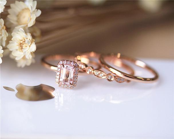 Perfect 3 Rings Set!! Solid 14K Rose Gold Ring Set Emerald Cut Morganite Ring Set Engagement Ring Set