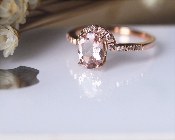 Pink 6x8mm Oval Morganite Ring Solid 14K Rose gold Morganite Engagement Ring Wedding Ring Bridal Ring