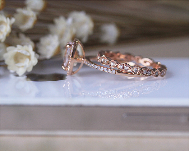 Engagement Ring Set Solid 14K Rose Gold Ring Set Morganite Ring Set Wedding Ring Set Promise Ring Set