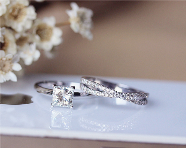 Princess Cut Moissanite Engagement Ring Set Solid 14K White Gold Wedding Ring Moissanite Ring Set