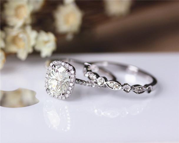 1.5ct 6x8mm Oval Moissanite Wedding Ring Set Solid 14K White Gold Ring Set Engagement Ring Set