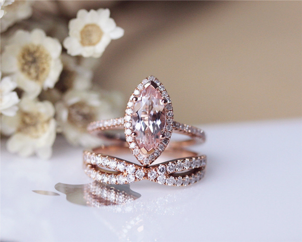 Unique Morganite Ring Set Solid 14K Rose Gold  Marquise Morganite Engagement Ring Set Wedding Ring Set