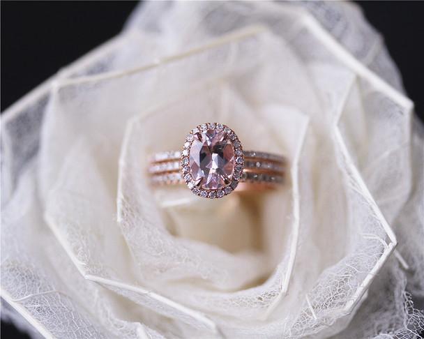 THREE RINGS Pink Morgannite Ring Set VS Morganite Diamonds Ring Set Wedding Ring Set Solid 14K Rose Gold