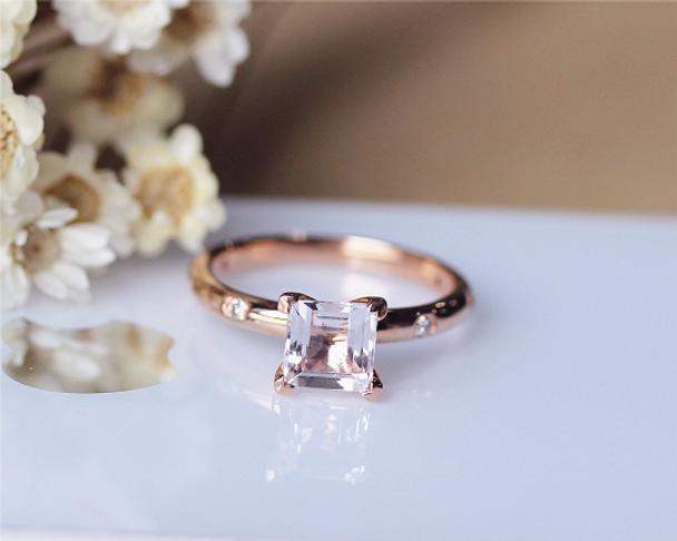 6.5mm Princess Cut Morganite Ring Solid 14K Rose Gold Morganite Engagement Ring Wedding Ring