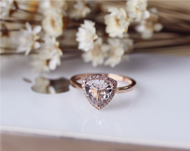 8mm Trillion Cut Morganite Ring Solid 14K Rose Gold Morganite Engagement Ring Wedding Ring