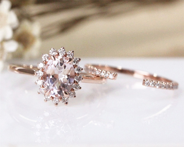 6*8 Oval Cut Morganite Engagement Ring Set Solid 14K Rose Gold  Morganite Ring Set Wedding Ring Set