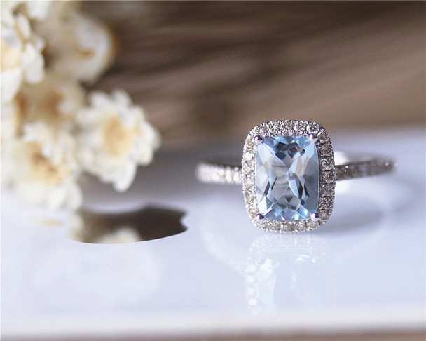 Pillow Cushion 6x8mm Aquamarine Ring Solid 14K White Gold Aquamarine Engagement Ring
