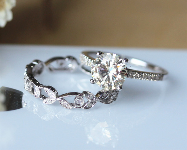 Round Cut Brilliant Moissanite Engagement Ring Set Solid 14K White Gold Moissanite Ring Set