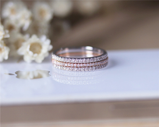 3PCS Diamonds Wedding Band Set Solid 14K Rose Gold White gold Diamonds Engagement Ring Set