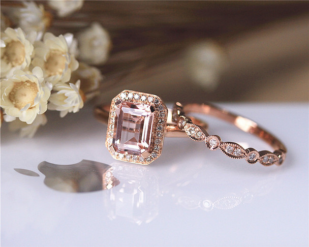 6x8mm Emerald Cut VS Pink Morganite Ring Set Wedding Ring Set Solid 14K Rose Gold Set