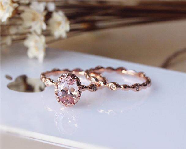 14K Rose Gold Morganite Engagement Ring Set Vintage Floral Morganite Ring Set Wedding Ring Set