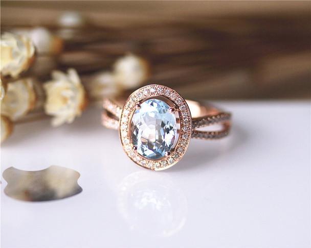 Art Deco Unique 7x9mm Natural Aquamarine Ring Solid 14K Rose Gold Aquamarine Engagement Ring