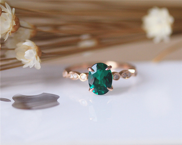 6x8mm Oval AAA Emerald Cut Emerald Ring Solid 14K Rose Gold Wedding Ring Emerald Engagement Ring