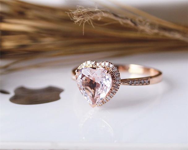 Special Heart Shaped Morganite Ring Solid 14K Rose Gold Morganite Engagement Ring Wedding Ring