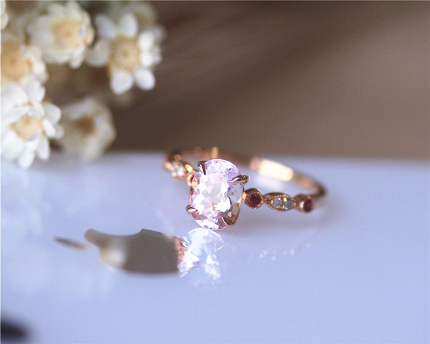 Red Ruby And Pink 6x8mm Oval Morganite Ring Solid 14K Rose gold Morganite Engagement Ring