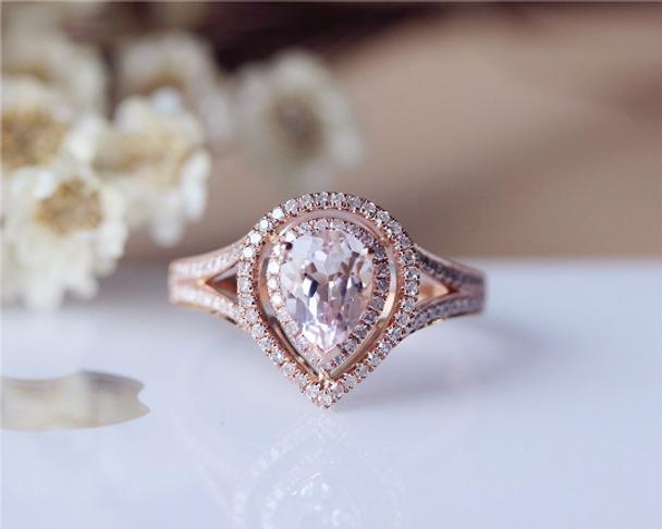 Pear  6x8mm Pink Morganite Ring Solid 14K Rose Gold Morganite Engagement Ring Wedding Ring