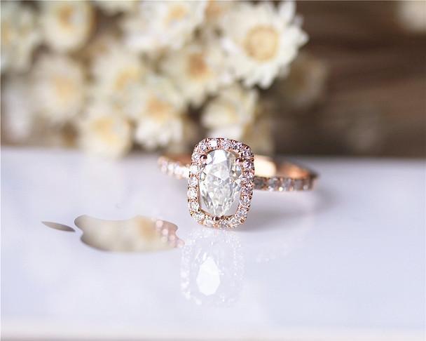 UNIQUE Pear Charles & Colvard Moissanite Engagement Ring Solid 14K Rose Gold Moissanite Ring