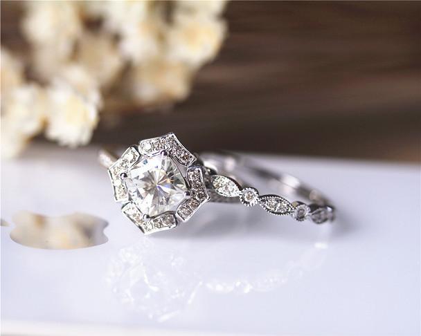 1.3ct Cushion Moissanite Engagement Ring Set Solid 14K White Gold Ring Wedding Ring Set
