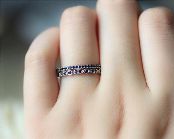 Engagement Ring Set Birthstone Ring Set Natural Blue Sapphire Ring Set Wedding Band Set Solid 14K White Gold