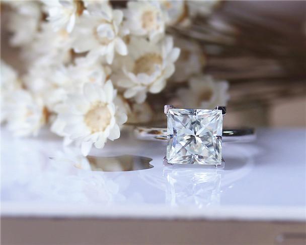 Elegant Wedding Ring 8mm Princess Cut Moissanite Ring Moissanite Engagement Ring Solid 14K White Gold