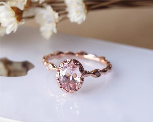 Pink 6x8mm Oval Vintage Floral Morganite Ring Solid 14K Rose Gold Engagement Ring Wedding Ring