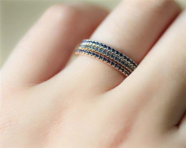 Birthstone Ring Set Natural Blue Sapphire Ring Set Wedding Band Set Solid 14K White/Yellow/Rose Gold