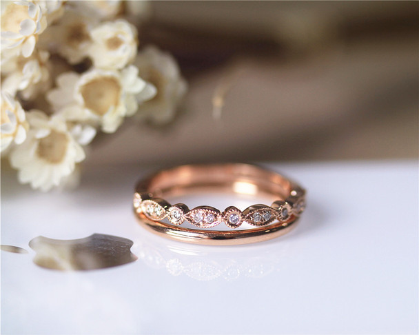 Matching Wedding Diamond Band Set Wedding Ring Set Solid 14K Rose Gold Diamond Engagement Set
