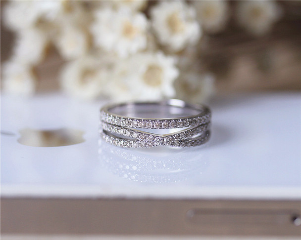 Natural Diamonds Wedding Band Set Wedding Ring Set Solid 14K White Gold Diamond Engagement Set