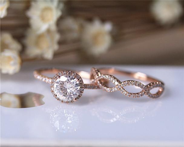 1ct Moissanite Engagement Ring 2 Ring Set Solid 14K Rose Gold Wedding Ring Set