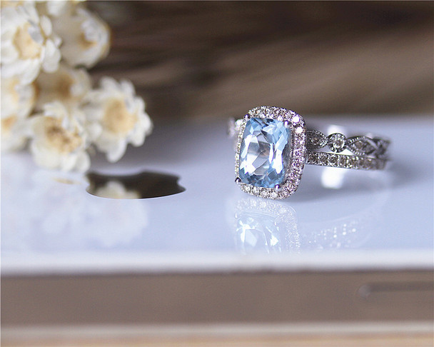March Birthstone Ring Set Pillow Cushion Aquamarine Ring Set Solid 14K White Gold Ring Set