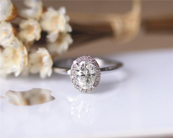 6*8mm Oval Cut Brilliant Moissanite Engagement Ring Solid 14K White Gold Moissanite Ring