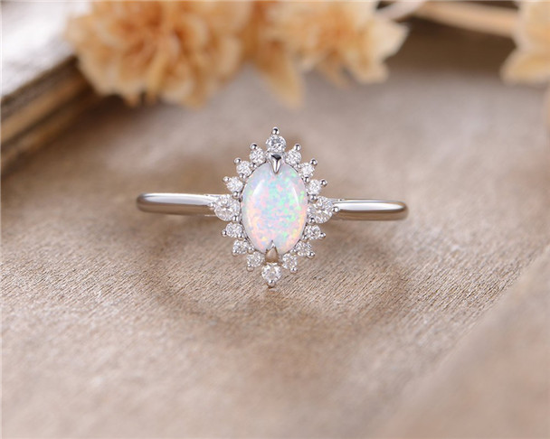 White Gold Opal Engagement Ring Oval Cut Moissanite Halo Eternity Unique Birthstone Bridal Wedding Ring