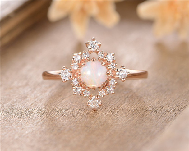 Rose Gold Opal Engagement Ring Cluster Diamond Halo October Birthstone Eternity Bridal Wedding Ring