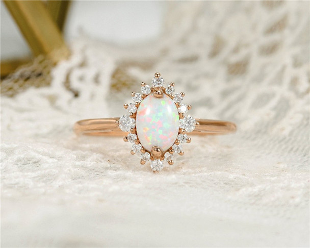 Opal Engagement Ring Rose Gold Oval Cut Moissanite Halo Eternity Unique Birthstone Bridal Wedding Ring