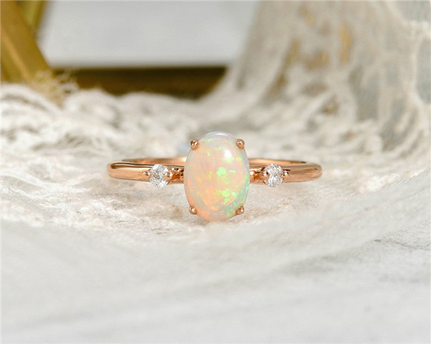 Opal Engagement Ring Rose Gold Oval Cut Diamond Three Stone Wedding Ring 3 Stone Birthstone Ring