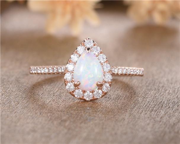 Pear Cut Opal Engagement Ring Rose Gold Oval Cut Lab Opal Halo Diamond Half Eternity Wedding Gift