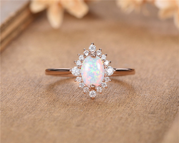 14K Rose Gold Opal Engagement Ring Oval Cut Moissanite Halo Eternity Unique Birthstone Bridal Wedding Ring